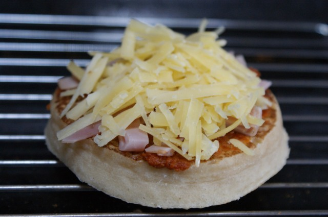 Crumpet pizza ready for grilling