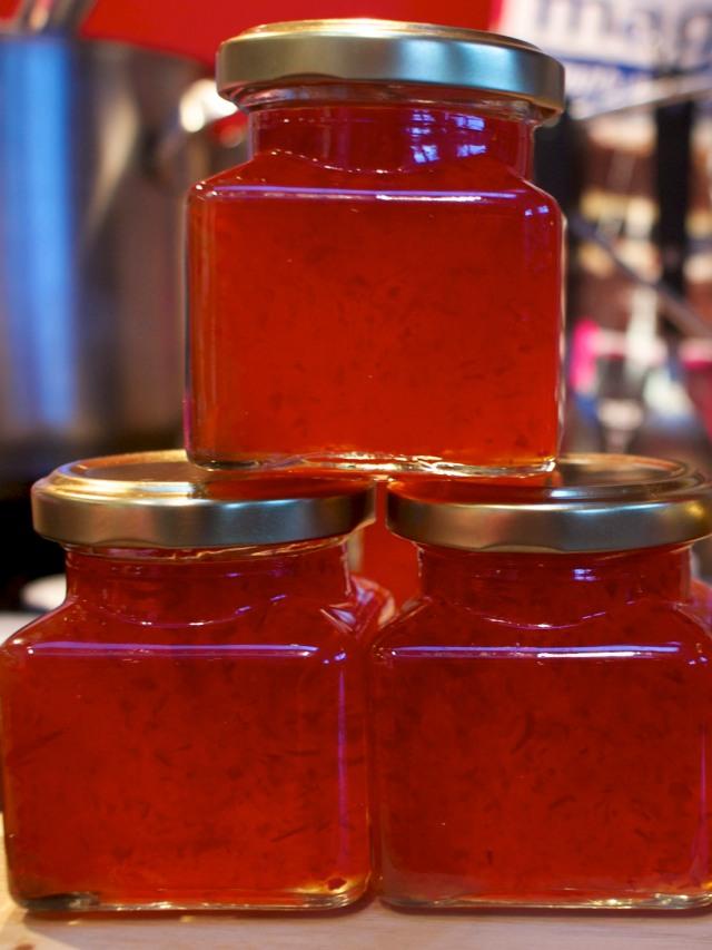 Freshly filled jars of chilli jam