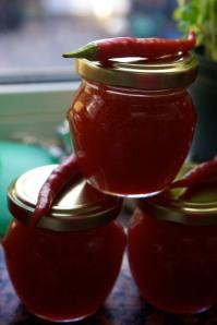 Pots of chilli jam