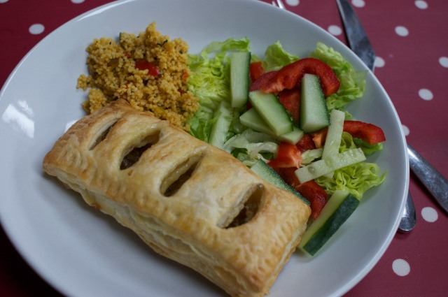 Pasty and salad