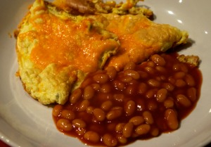 Fluffy omelette and beans