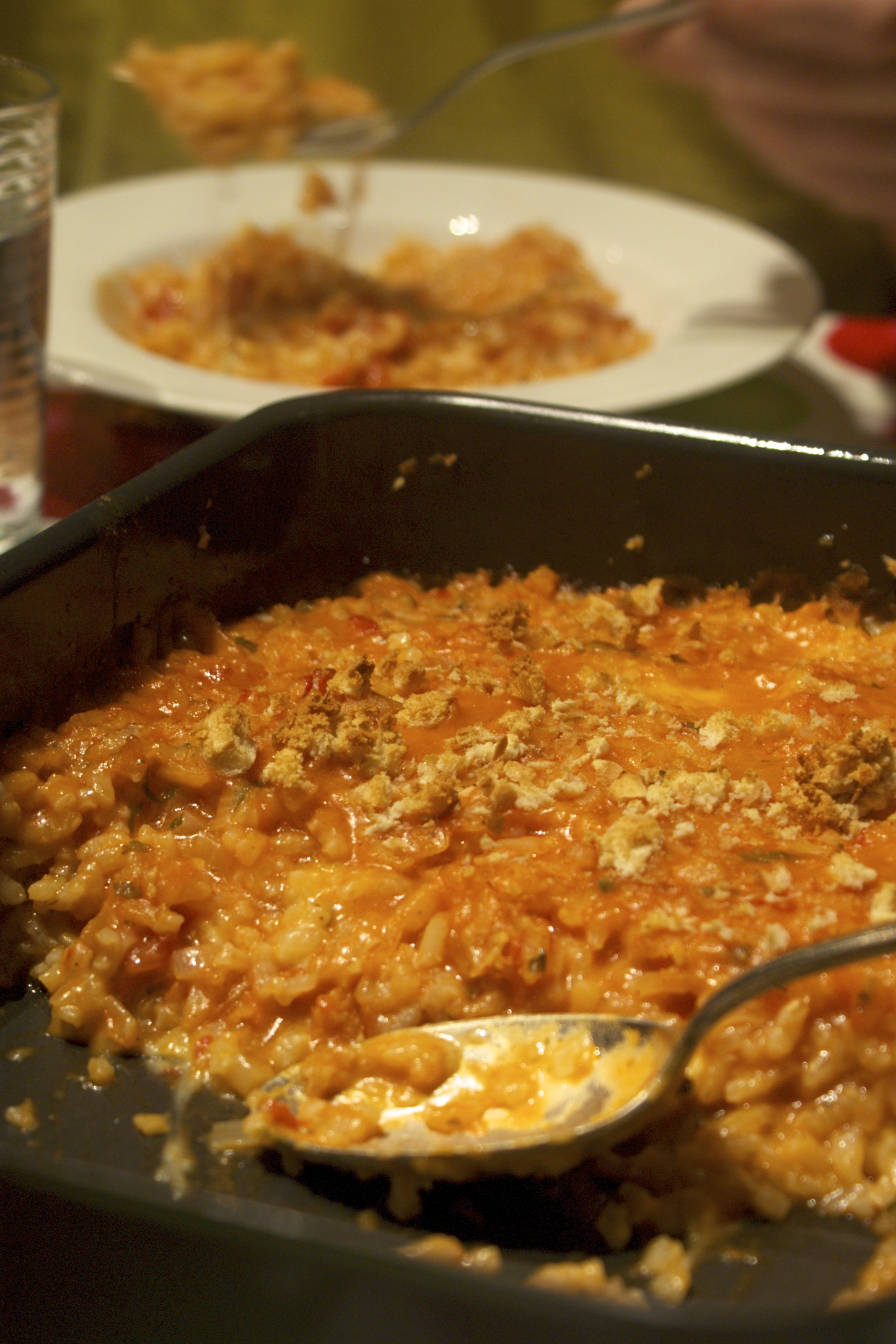 Ever so cheesy baked risotto with tomato and mozzarella