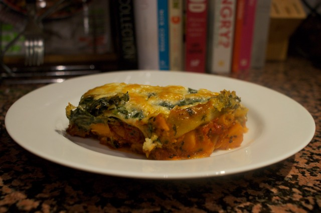 Sweet potato and spinach lasagne plated up