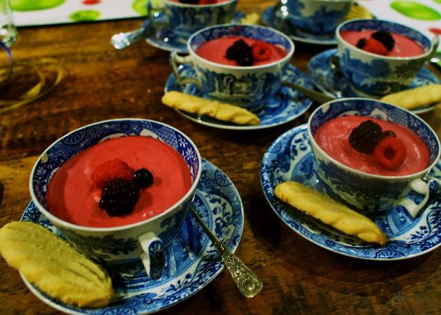 Summer fruit fools in teacups