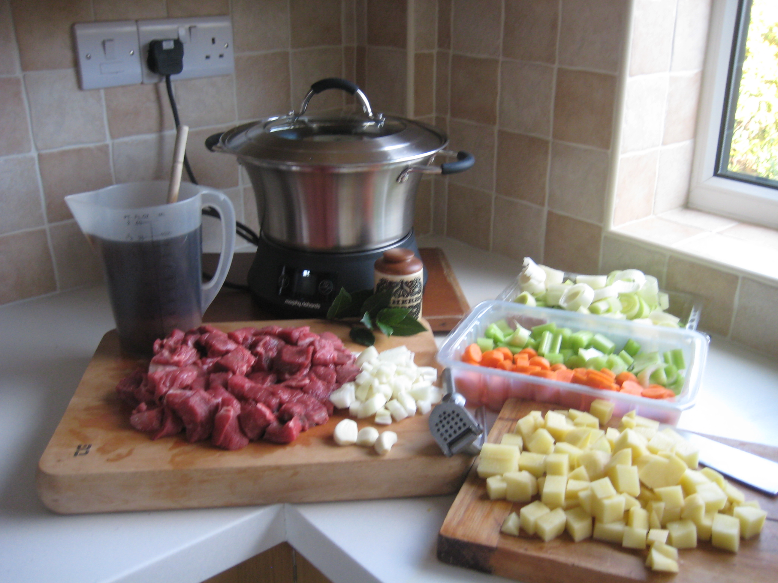 Ingredients for beef casserole using slow cooker